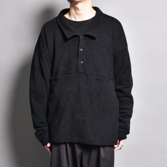 メンズファッションrin / Loose Polo Slit Sleeve BK