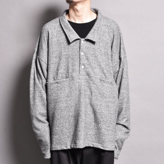 メンズファッションrin / Loose Polo Slit Sleeve GREY