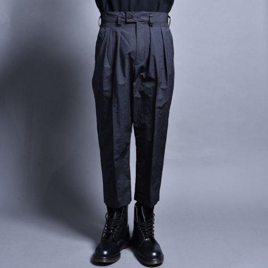 メンズファッションrin / Cropped Two Tuck Pants CARBON BLACK