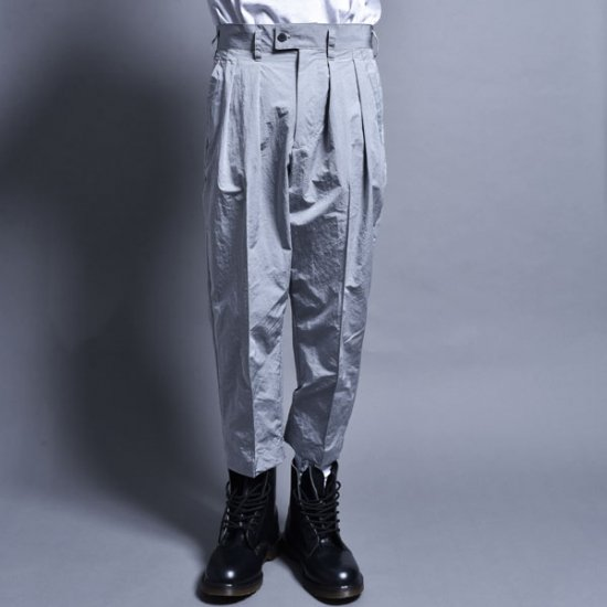 メンズファッションrin / Cropped Two Tuck Pants Silver GREY