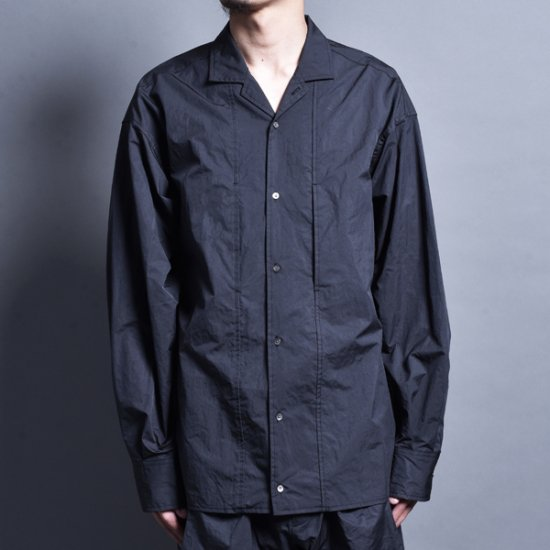 メンズファッションrin / Nylon Switch L/S Shirt CARBON BLACK