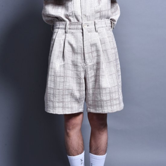 メンズファッションrin / Jacquard Two Tuck Short Pants BEI