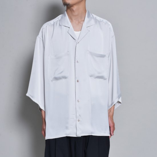 メンズファッションrin / Silky OP Over S/S Shirt WH GREY