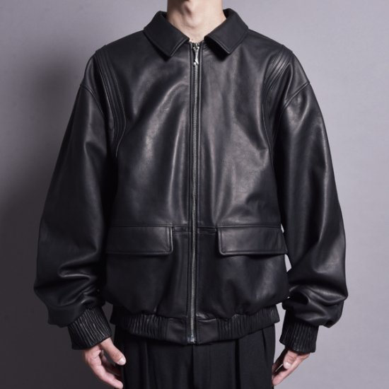 rin / Captain BOM Leather Jacket BLACK