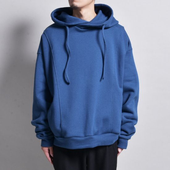 メンズファッションrin / Wide Short Loose Hoodie BLUE