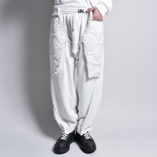 HAMCUS / PLEATED QUILTED LAYER BAGGY LOUNGE PANTS