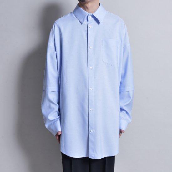 メンズファッションJERIH / OVERSIZED CHEST POCKET SHIRT SAX