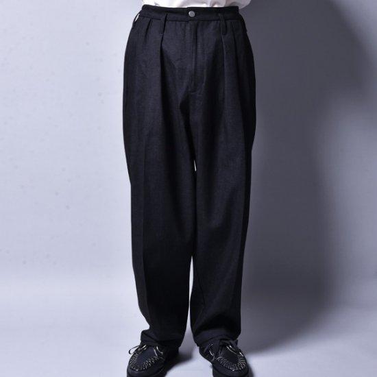 メンズファッションrin / 3 Tuck Over Slacks Pants BK