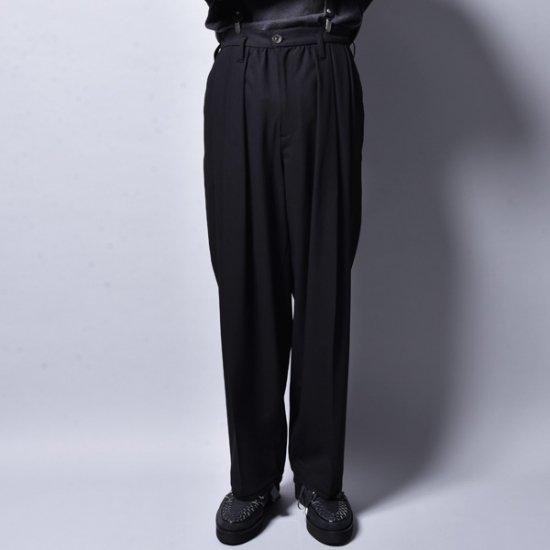 メンズファッションrin / Big Wide Tuck Slacks Pants BK