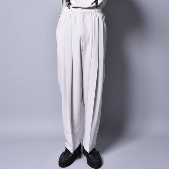 rin / Big Wide Tuck Slacks Pants Greige