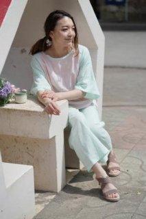 ラグランスリーブ 5分袖パジャマ (ピンク×ミントグリーン)