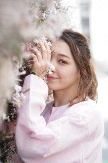 サテンリボン付き 長袖パジャマ 桜