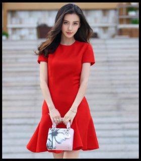 リゾート ワンピース コーデ 夏  ミニ ドレス 上品 半袖 マーメイド /赤