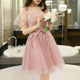 リゾート ドレス ワンピース ミニ 結婚式 ブライズメイド ディナー 花柄 チュール レース ダスティ ピンク