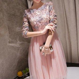 リゾート ドレス ワンピース ミニ 結婚式 ディナー 膝丈 長袖 花柄 レース フレア ふわふわ 切り替え