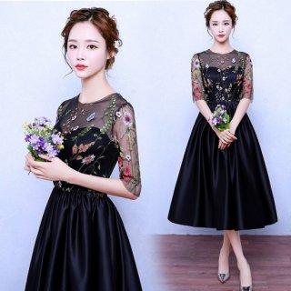 リゾート ワンピース ミモレ丈 コーデ 結婚式 黒 レース 花柄 刺繍 半袖 フレア 可愛い ドレス