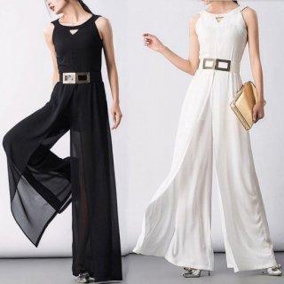 リゾート オールインワン コーデ 結婚式 ウェディング ノースリーブ ワイド パンツ ドレス 大人 シースルー /黒/白