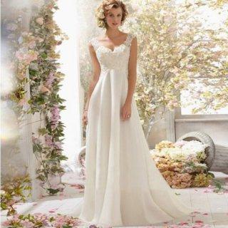 リゾート ウェディング ドレス コーデ スレンダー Aライン エンパイア シンプル 大人 かわいい