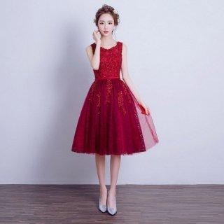 リゾート ドレス 結婚式 パーティー 膝丈 ノースリーブ フレア Aライン 上品 エレガント レース 花柄 チュール 赤