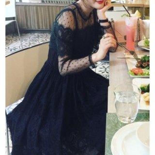【即納】 リゾート ワンピース コーデ ミモレ丈 結婚式 ウェディング ゲストドレス 長袖 レース 黒 ブラック