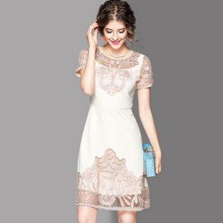 リゾート ドレス ワンピース コーデ ウェディング パーティー ディナー おでかけ 膝丈 半袖 フレア 上品 大人 シンプル 個性的 刺繍 シースルー ベージュ/グレー