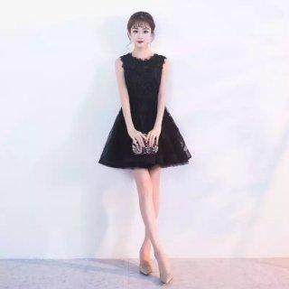 リゾート ドレス ワンピース コーデ パーティー ディナー ミニ ノースリーブ フレア 上品 かわいい キュート レース 切替 チュール 大きいサイズ 黒