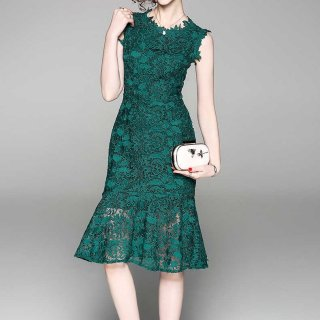 リゾート婚 ワンピース 結婚式 ウェディング ゲストドレス ノースリーブ マーメイド 総レース 大人 3色