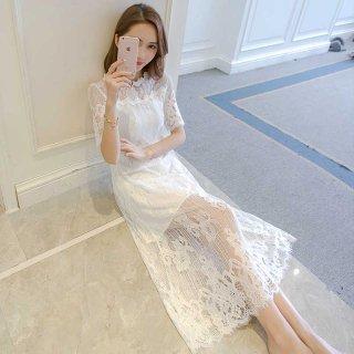 リゾート婚 ワンピース ドレス 結婚式 花嫁 ゲストドレス ロング 半袖 レース シースルー 上品 大人 ブラック/ホワイト