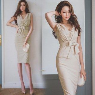 【即納】リゾート婚 ドレス カシュクール タイト 膝丈