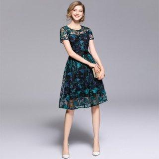 【即納】リゾート ドレス 結婚式 お呼ばれ 総レース 膝丈 花柄刺繍