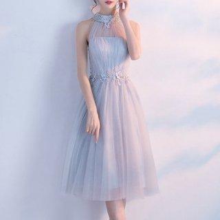 【即納】リゾート ドレス お呼ばれ パール ビジュー バックシャン