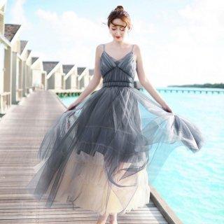 エアリーなフレアが魅力的◇ロングキャミワンピース ドレス 2色