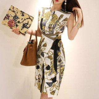 スカーフ調プリントが素敵♪ラップスカート風タイトワンピース 2色