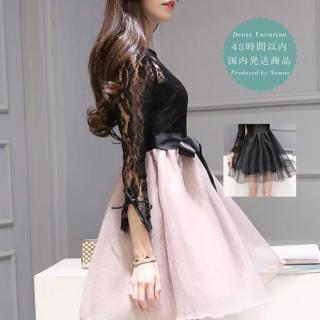 【即納】リゾート ワンピース ミニ コーデ 結婚式 長袖 レース 可愛い リボン ドレス