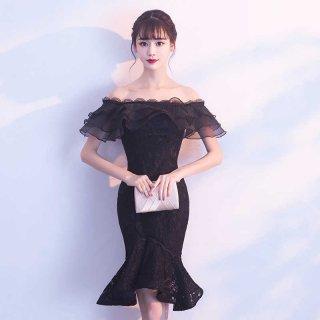 【即納】リゾート婚 ワンピース ゲストドレス ブライズメイド マーメイド オフショルダー