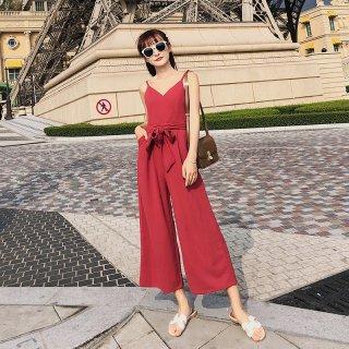 リゾートスタイルにおすすめ◇大人かわいいキャミオールインワン 4色