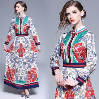 1枚でオシャレスタイルに◇鮮やかプリントのロングシャツワンピース 2色