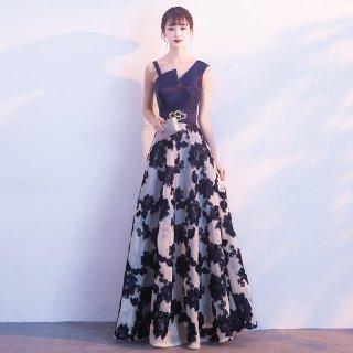 エレガントな花柄刺繍◇アシンメトリーデザイン ロングドレス
