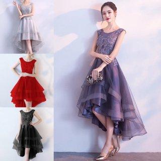 華やかなティアードフリルのフィッシュテール♪ドレス ワンピース 4色