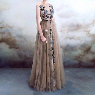 ヌーディーカラーや刺繍がエレガント◇ノースリーブ ロングドレス