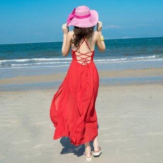 鮮やかな赤がリゾートスタイルにぴったり♪バックシャン マキシワンピース