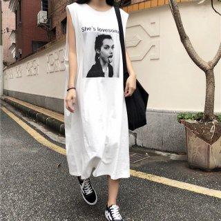 USED感がかわいい◇カットオフ ロング丈 Tシャツワンピース  2色