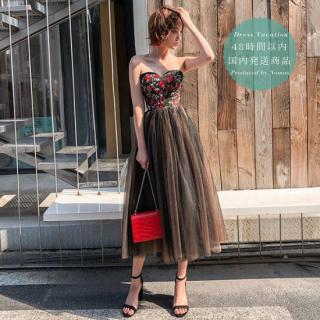 【即納】大人かわいい花柄×チュールデザイン◇ベアロングドレス ワンピース