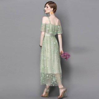 爽やかなミントグリーン◇オープンショルダー ロングワンピース ドレス