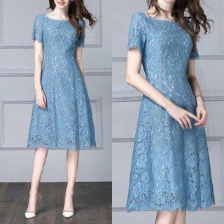 上品エレガントなブルーの総レース◇フレアワンピース ドレス 大きいサイズ