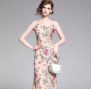 華やかでエレガント◇ノースリーブ ロングドレス ワンピース 2色 大きいサイズ