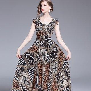 個性的なアニマルプリントをエレガントに◇ ロングワンピース ドレス 大きいサイズあり