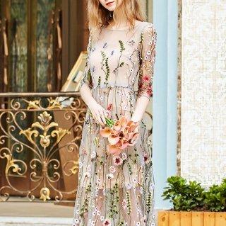 繊細なボタニカル刺繍が上品華やか◇シースルー ロングドレス ワンピース 大きいサイズあり