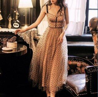 大人かわいいドットチュール◇ビスチェ風デザイン ロングワンピース ドレス