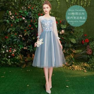【即納】リゾート婚に フェアリーな花柄刺繍のエレガント袖ありドレス